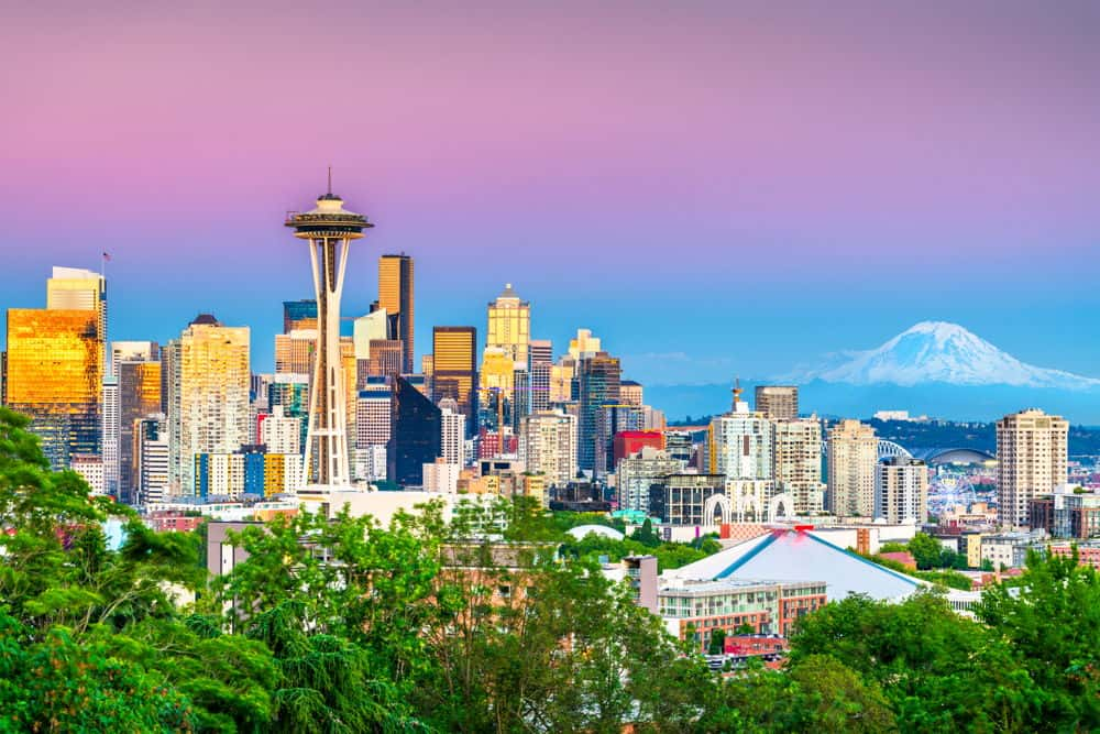 picture of seattle washington state at sunset